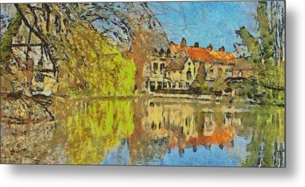 Minnewater Lake In Bruges Belgium Metal Print
