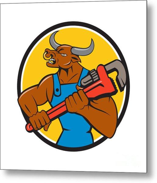 Minotaur Bull Plumber Wrench Circle Cartoon Metal Print
