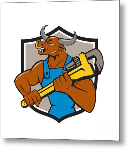 Minotaur Bull Plumber Wrench Crest Cartoon Metal Print