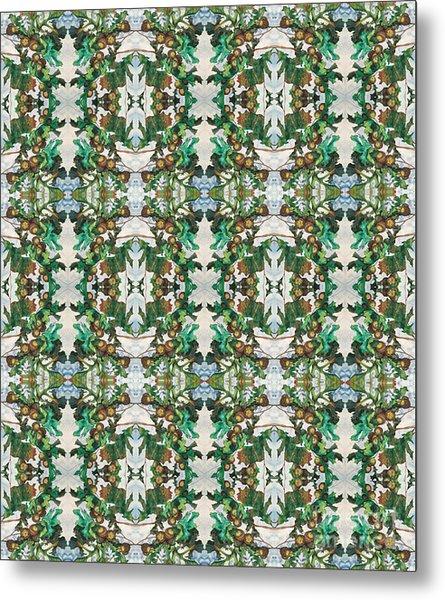 Mirror Image Of Acorns On An Oak Tree Metal Print