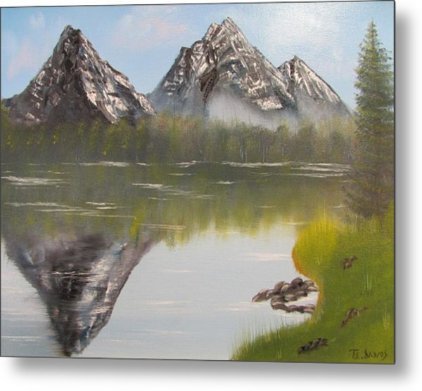 Mirror Mountain Metal Print