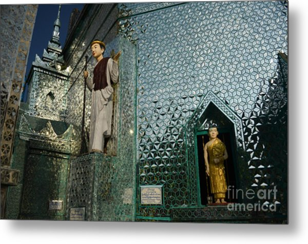 Mirror Temple In Burma Courtyard View Metal Print