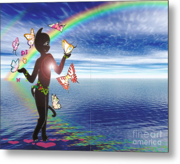 Miss Fifi And The Rainbow Metal Print by Silvia  Duran