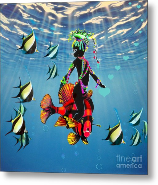 Miss Fifi New Friends In The Ocean Metal Print by Silvia  Duran