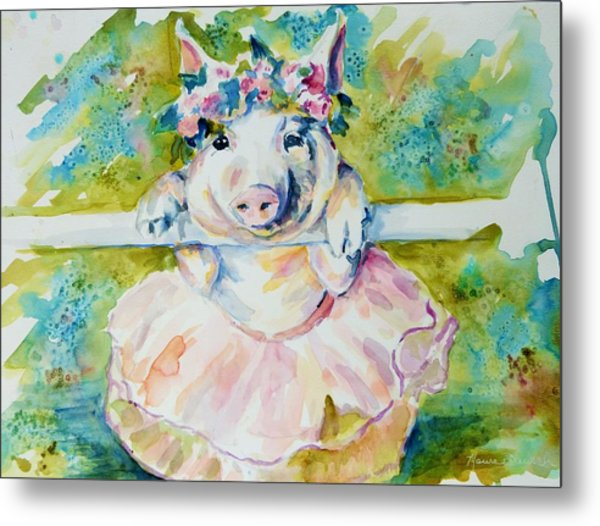Miss Piggy At The Bar Metal Print