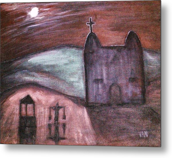 Mission At Night Metal Print