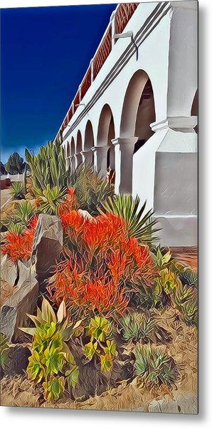 Mission San Luis Rey Garden Metal Print