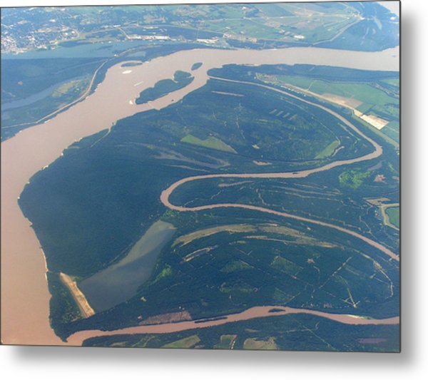 Mississippi River Aerial Shot Metal Print by Randy Muir