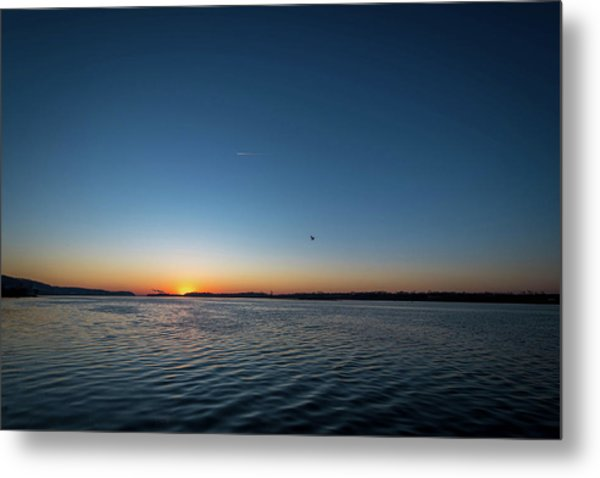 Mississippi River Sunrise Metal Print