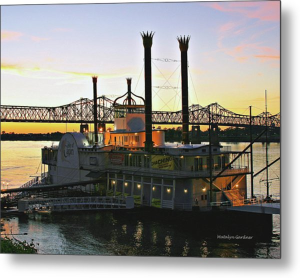 Mississippi Riverboat Sunset Metal Print