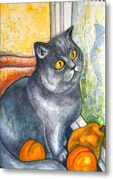 Missy With Fruits Metal Print