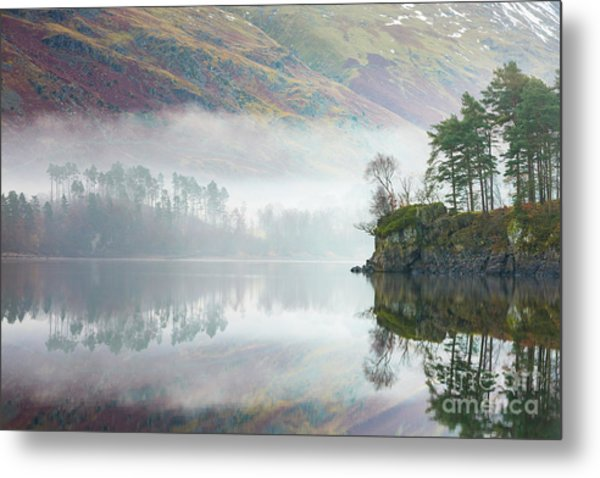 Mist Covered Pines - Thirlmere Metal Print