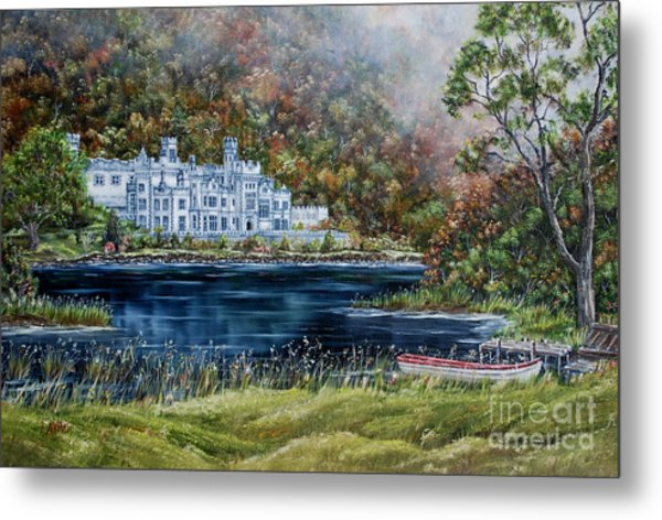 Mist Over Kylemore Abbey Metal Print by Avril Brand