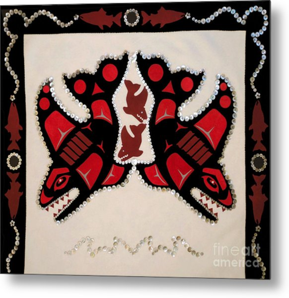 Metal Print featuring the tapestry - textile Mistamekwakii  - Whales - Northern Cree by Chholing Taha
