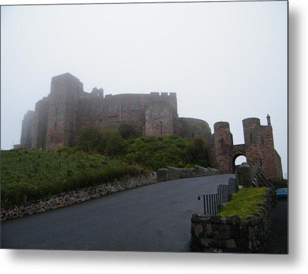 Misty Bamburgh Castle Metal Print
