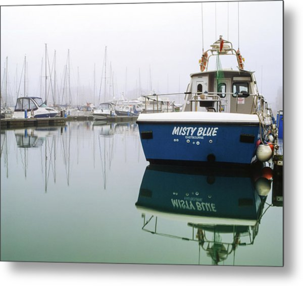 Metal Print featuring the photograph Misty Blue, Sovereign Harbour, Eastbourne by Will Gudgeon