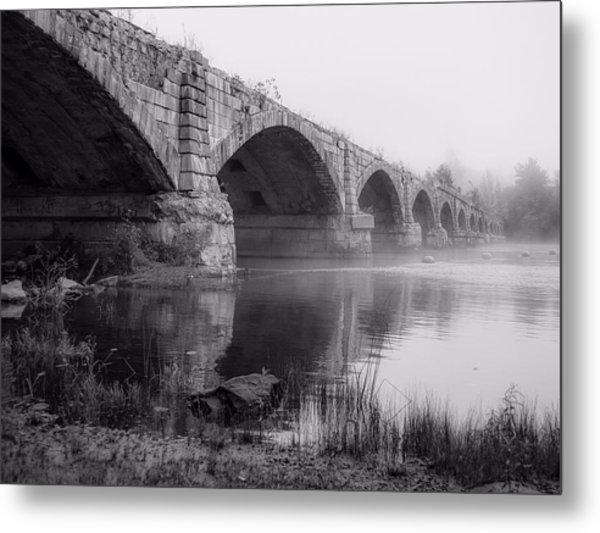 Misty Bridge Metal Print