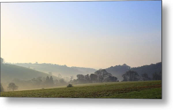 Misty Dawn Over The Cornish Countryside Metal Print