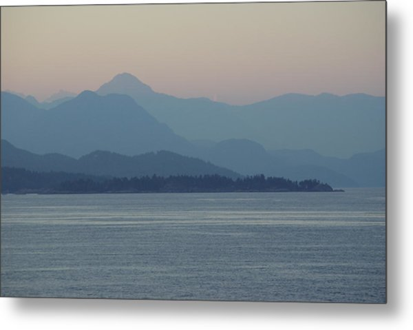 Misty Hills On The Strait Metal Print