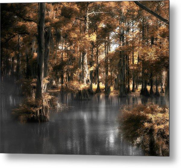 Misty Lake Metal Print by Cecil Fuselier