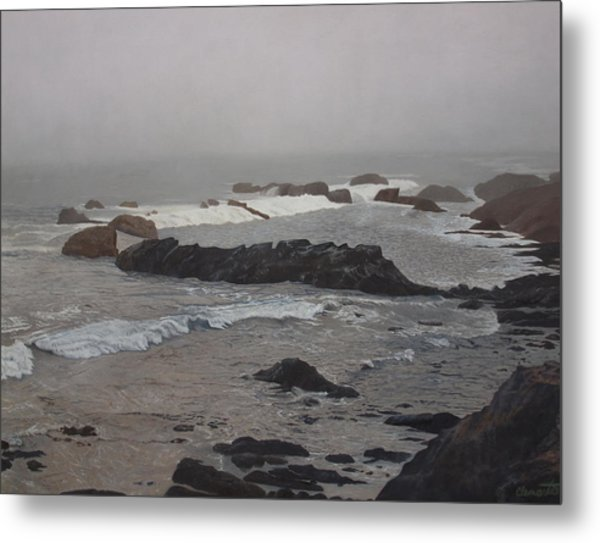 Misty Morning At Ragged Point, California Metal Print