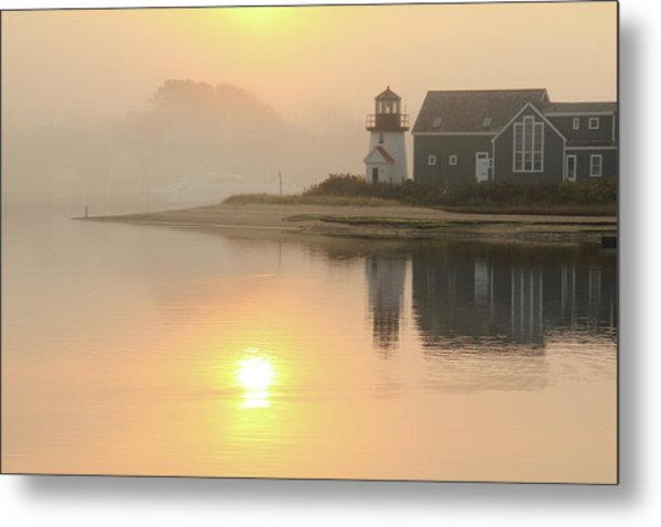 Misty Morning Hyannis Harbor Lighthouse Metal Print