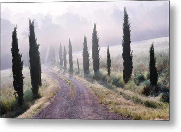 Misty Morning In Tuscany Metal Print