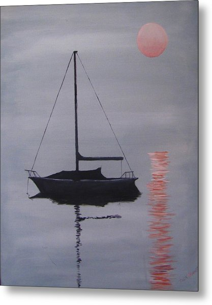 Misty Morning Mooring Metal Print