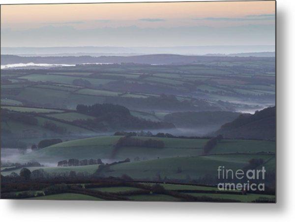Misty Morning On Exmoor  Metal Print