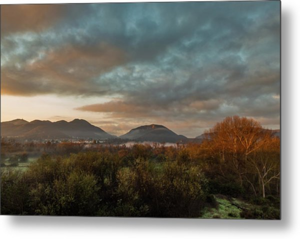 Misty Morning Over The San Diego River Metal Print