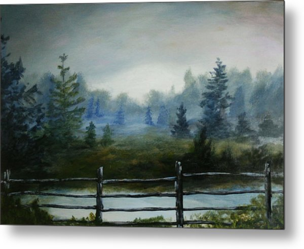 Misty Morning Metal Print by Rusty W Hinshaw