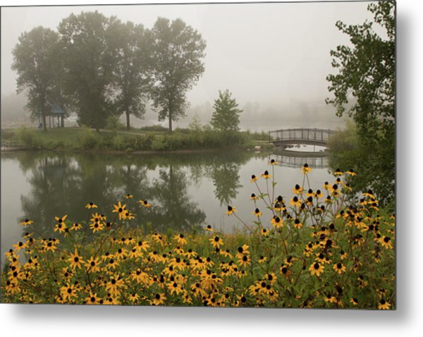 Misty Pond Bridge Reflection #3 Metal Print