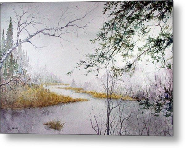 Misty  River Morning Metal Print