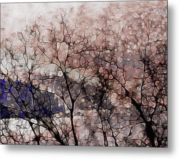 Metal Print featuring the mixed media Misty Sunrise On Whidbey Island by Susan Maxwell Schmidt