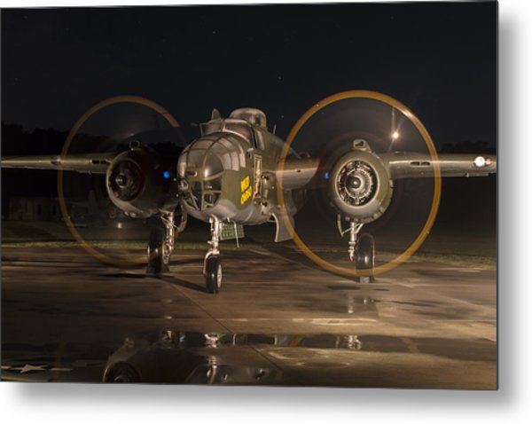 Mitchell Night Engine Run Metal Print
