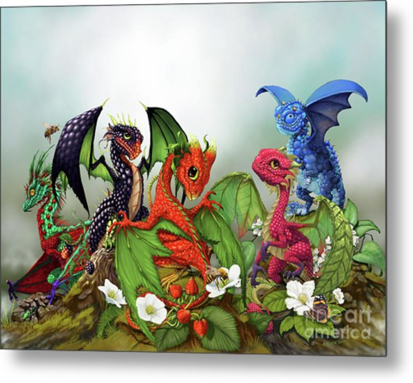 Mixed Berries Dragons Metal Print