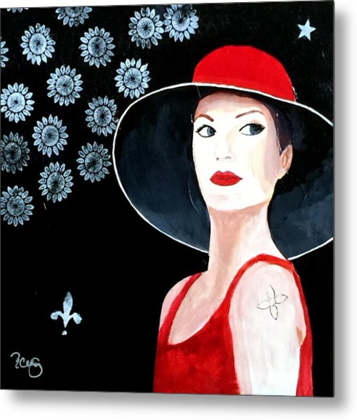Mixed Media Painting Woman Red Hat Metal Print