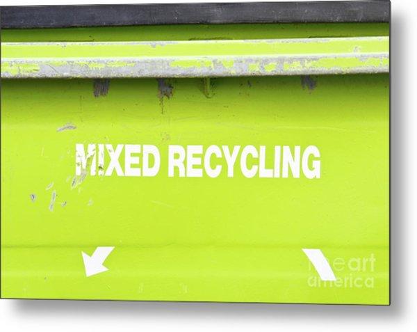 Mixed Recycling Bin Metal Print