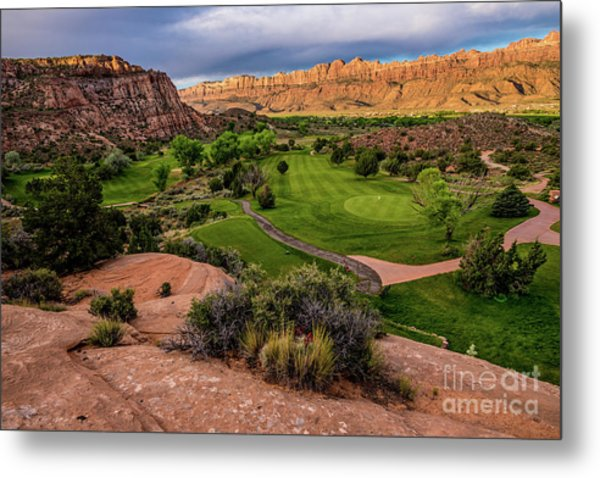 Moab Desert Canyon Golf Course At Sunrise Metal Print