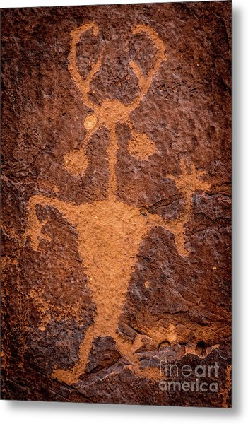 Moab Man Petroglyph Portrait - Utah Metal Print