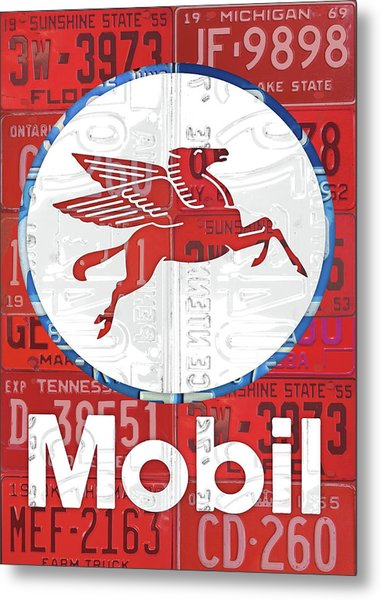 Mobil Oil Gas Station Vintage Sign Recycled License Plate Art Metal Print
