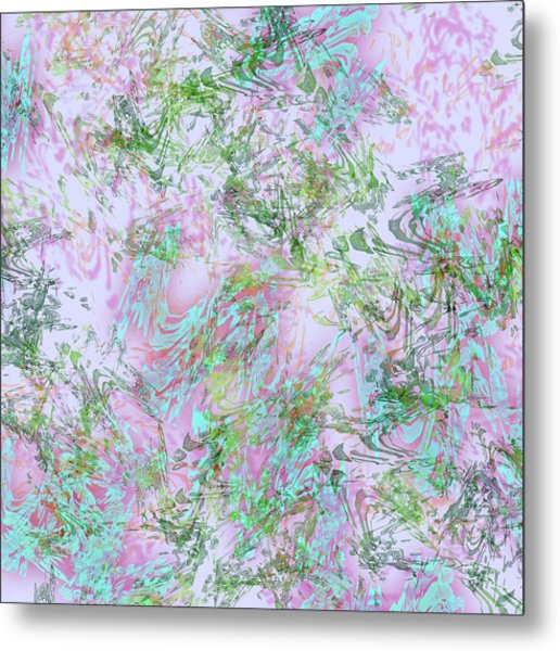 Mock Floral Purple Teal Metal Print