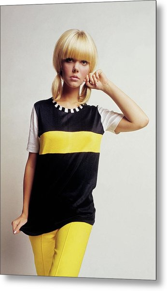 Model In Black And Yellow Metal Print by David McCabe