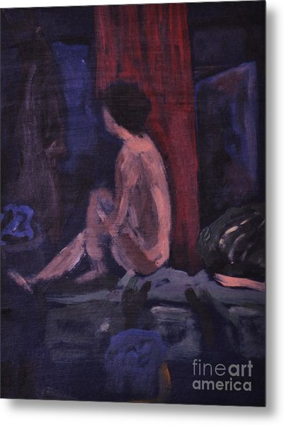 Model In Blue And Red Metal Print by Reb Frost