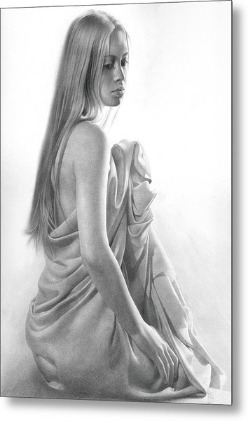 Metal Print featuring the drawing Model Ix by Denis Chernov