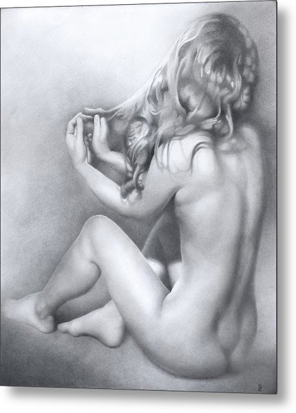Metal Print featuring the drawing Model Nn by Denis Chernov