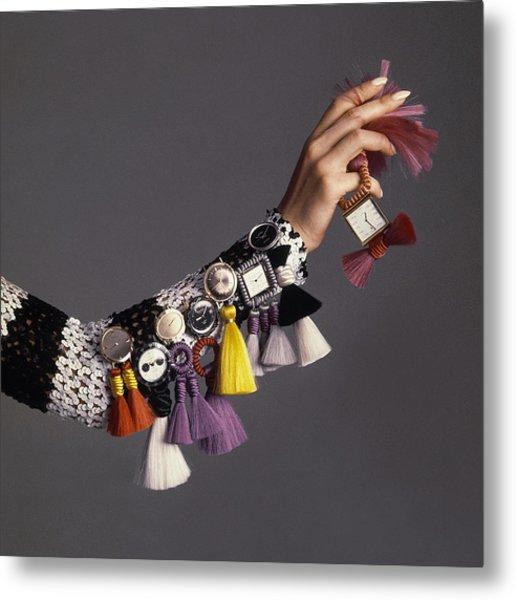 Model Sporting Wristwatches Metal Print by Bert Stern