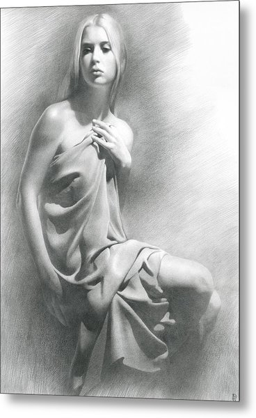 Metal Print featuring the drawing Model Viii  by Denis Chernov