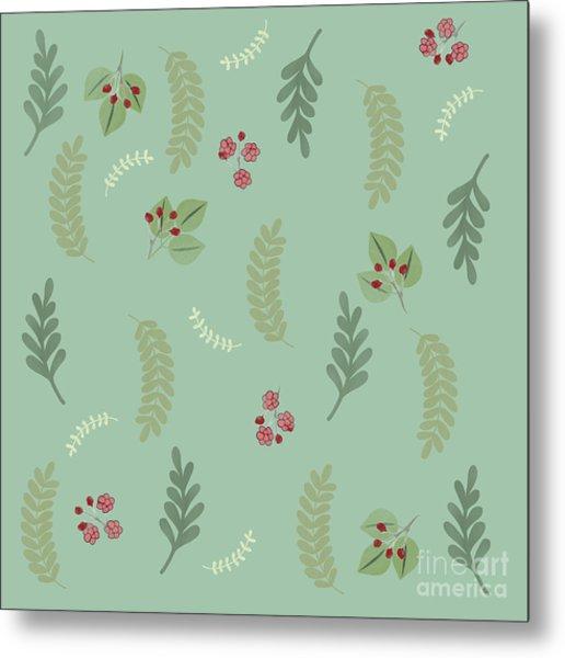 Modern Botanical Study Pattern, Spring And Summer Metal Print