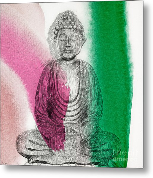 Metal Print featuring the painting Modern Buddha by Lita Kelley